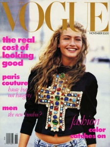 """""""This was Wintour's first cover for the magazine after she took over as editor. It depicts a model outdoors, in natural light, wearing a very expensive top with inexpensive jeans (the first time jeans were worn by a Vogue cover model)."""" – Wikipedia"""